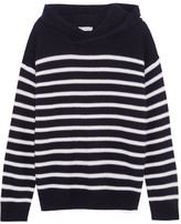 Vince Hooded Striped Cashmere Sweater - Midnight blue