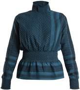 CECILIE COPENHAGEN Hiker high-neck scarf-jacquard cotton top