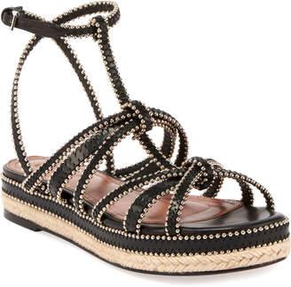 Alaia Studded Strappy Flatform Espadrille Sandals