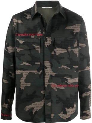 Valentino Camouflage Print Embroidered Shirt Jacket