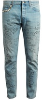 Gucci Slim-fit typography-print cropped jeans