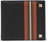 Valentino - Rockstud Striped Full-grain Leather Billfold Wallet