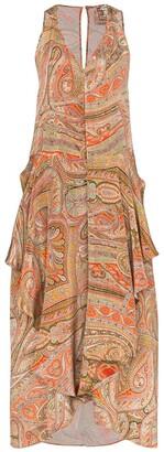 By Walid Janice asymmetric paisley print dress