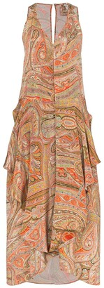 By Walid Janice asymmetric paisley print dress
