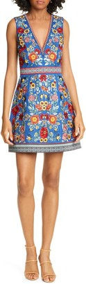 Alice + Olivia Patty Embroidered A-Line Dress