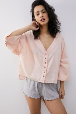 Out From Under Bay Breeze Button-Down Top - Pink XS at Urban Outfitters