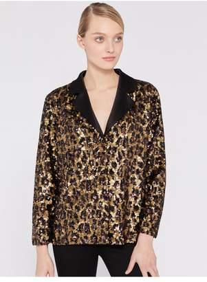 Alice + Olivia Keir Sequin Leopard Pajama Top