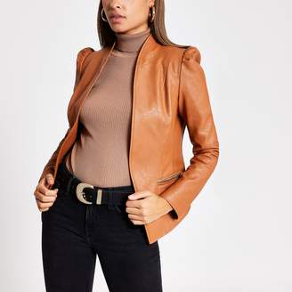 River Island Womens Brown faux leather puff sleeve blazer