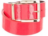 MICHAEL Michael Kors Patent Leather Logo Belt