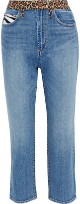 Alice + Olivia Amazing Cropped Patchwork High-rise Straight-leg Jeans