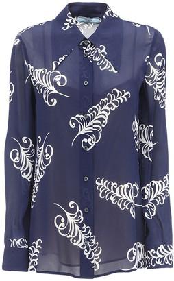 Prada Feather Print Crepe Sable Shirt