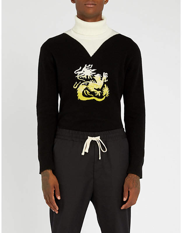 Kenzo Dragon-intarsia wool turtleneck jumper