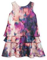 Zoe Watercolor Tiered Shimmer Dress, Pink, Size 7-16