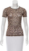 Dolce & Gabbana Mesh Leopard Print T-Shirt