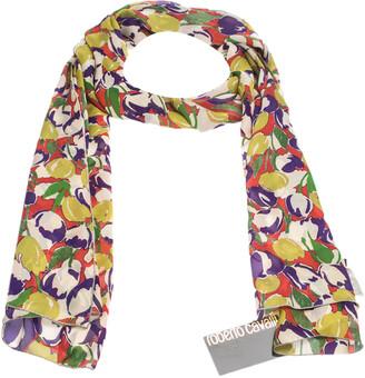 Roberto Cavalli Multicolor Abstract Floral Print Silk Scarf