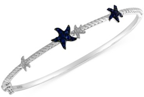 Effy Sapphire (1/3 ct. t.w.) & Diamond (1/10 ct. t.w.) Starfish Bangle Bracelet in 14k White Gold