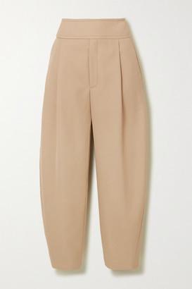 Totême Lombardy Cropped Pleated Grain De Poudre Straight-leg Pants - Beige