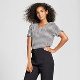 Who What Wear Women's Striped Elbow Sleeve T-Shirt Black/White Stripe