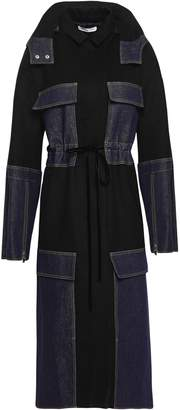 ADEAM Denim-paneled Wool-blend Hooded Coat