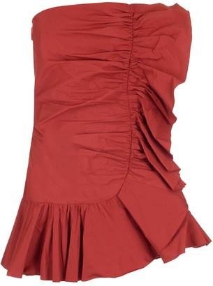 RED Valentino Ruffle Detail Strapless Taffeta Dress