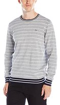 Lacoste Men's Long Sleeve Double Face Stripe Crewneck Sweater