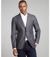 Z Zegna slate blue tailored denim woven blazer