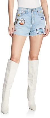 RE/DONE Frayed Embellished Denim Shorts