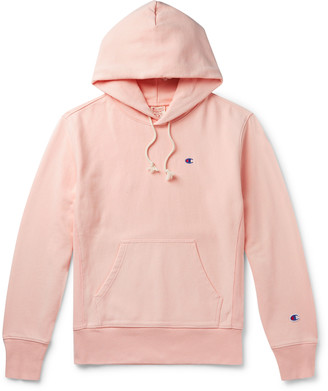Champion Logo-Embroidered Melange Fleece-Back Cotton-Blend Jersey Hoodie