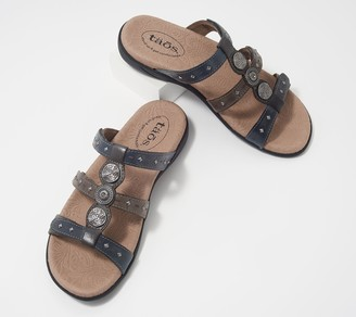 Taos Leather Studded Adjustable Slide Sandals- Festive