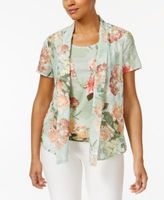 Alfred Dunner Petite Botanical Gardens Layered-Look Top