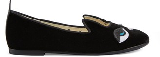 Gucci Children's velvet ballet flat with cat motif