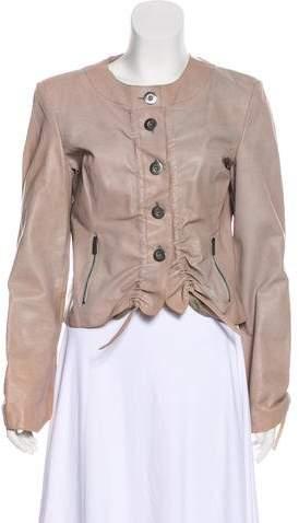 Giorgio Armani Ruched Leather Jacket