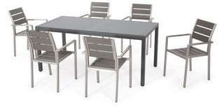 Christopher Knight Home Cape Coral Outdoor Modern 6 Seater Aluminum Dining Set with Tempered Glass Table Top