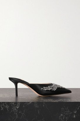 Jimmy Choo Rav 65 Crystal-embellished Satin Mules - Black