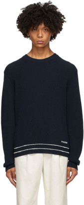 Marni Navy Rib Knit Stripes Sweater
