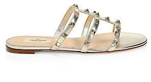 Valentino Women's Garavani Rockstud Metallic Leather Slides Sandals