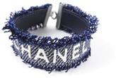 Chanel CC Logo Silver Plated Navy Blue Denim Leather Bangle Bracelet