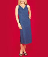 Le Mieux Blue Denim Side-Slit V-Neck Dress