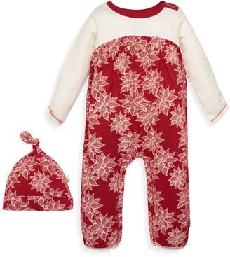 Burt's Bees Poinsettia Organic Baby Jumpsuit & Knot Top Hat Set