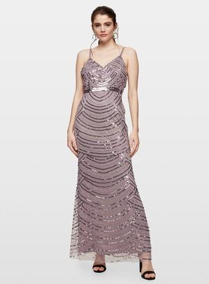 Miss Selfridge Mink Cami Embellished Maxi Dress