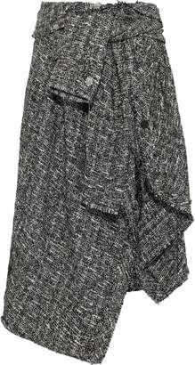 Faith Connexion Tie-front Asymmetric Metallic Boucle-tweed Midi Skirt
