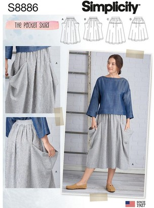 Simplicity Women's Pocket Skirt Sewing Pattern, 8886