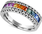 Effy Watercolors by Multi-Sapphire (1-1/3 ct. t.w.) and Diamond (1/8 ct. t.w.) Band in 14k White Gold, Created for Macy's