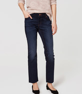 LOFT Curvy Frayed Straight Leg Jeans in Dark Stonewash