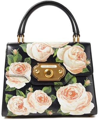 Dolce & Gabbana Welcome Floral-print Textured-leather Tote