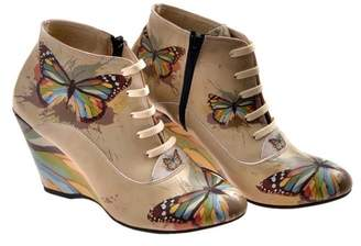 Goby Butterfly Print Wedge Ankle Bootie