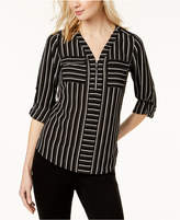 NY Collection Petite Striped Utility Shirt
