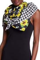 Betsey Johnson Floral Gingham Ruffle Scarf