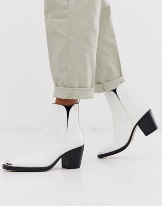 Truffle Collection western toe cap boots in white