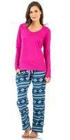 Ashford & Brooks Women's Long Sleeve Cotton Top with Micro Fleece Pants Pajama Set - Purple Mint Navy